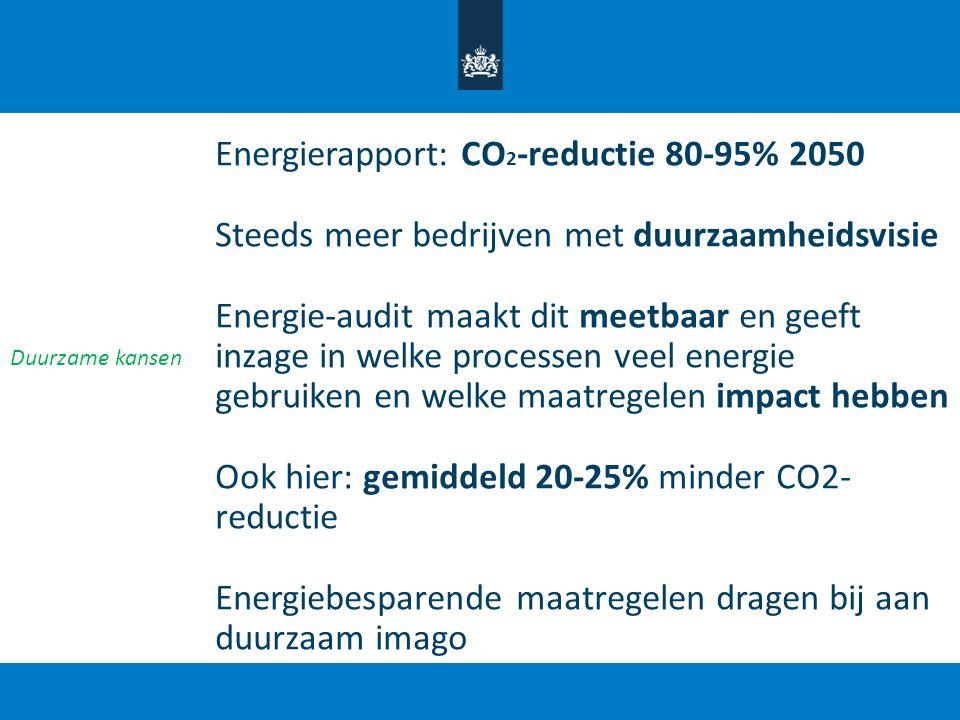 Energierapport: CO 2 -reductie 80-95% 2050 Steeds meer bedrijven met duurzaamheidsvisie Energie-audit maakt dit meetbaar en geeft inzage in welke proc