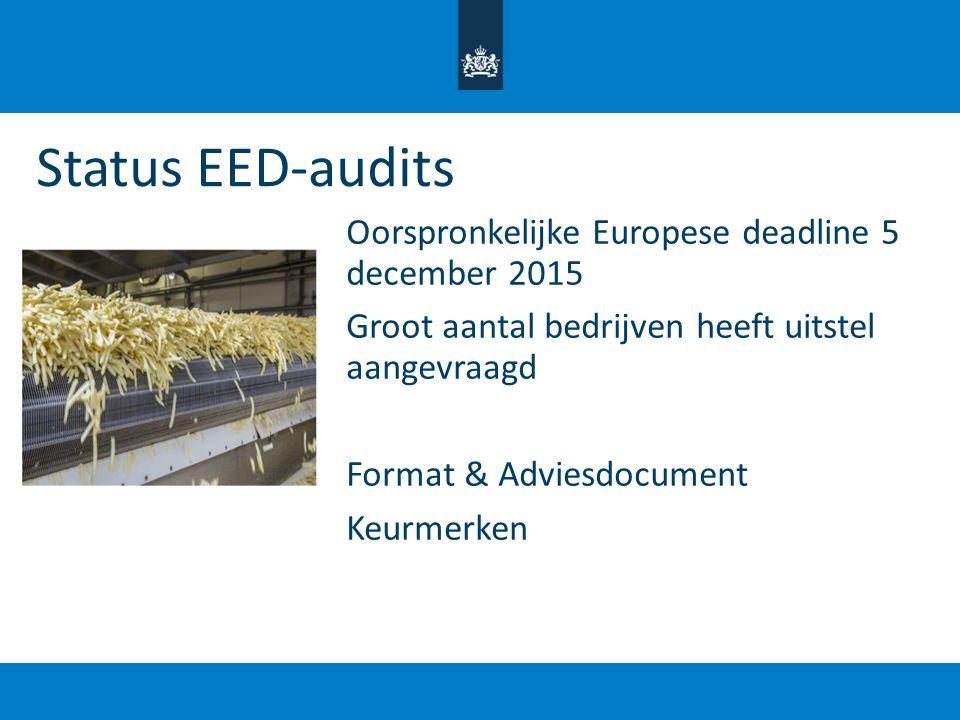 Status EED-audits Oorspronkelijke Europese deadline 5 december 2015 Groot aantal bedrijven heeft uitstel aangevraagd Format & Adviesdocument Keurmerke