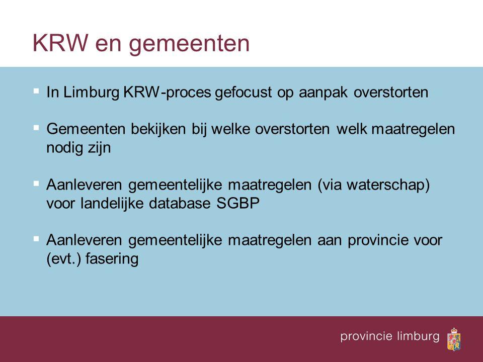 KRW en gemeenten  In Limburg KRW-proces gefocust op aanpak overstorten  Gemeenten bekijken bij welke overstorten welk maatregelen nodig zijn  Aanle
