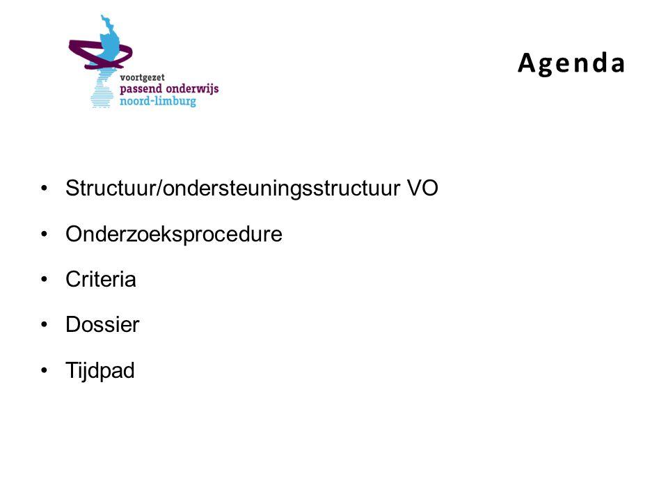 Agenda Structuur/ondersteuningsstructuur VO Onderzoeksprocedure Criteria Dossier Tijdpad