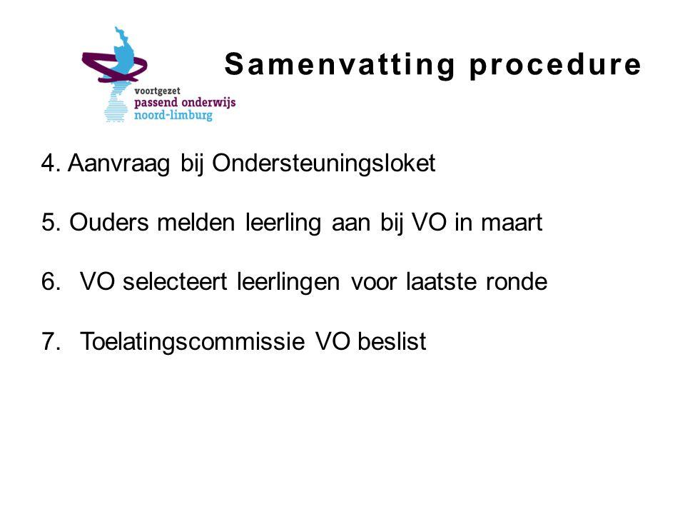 Samenvatting procedure 4. Aanvraag bij Ondersteuningsloket 5.
