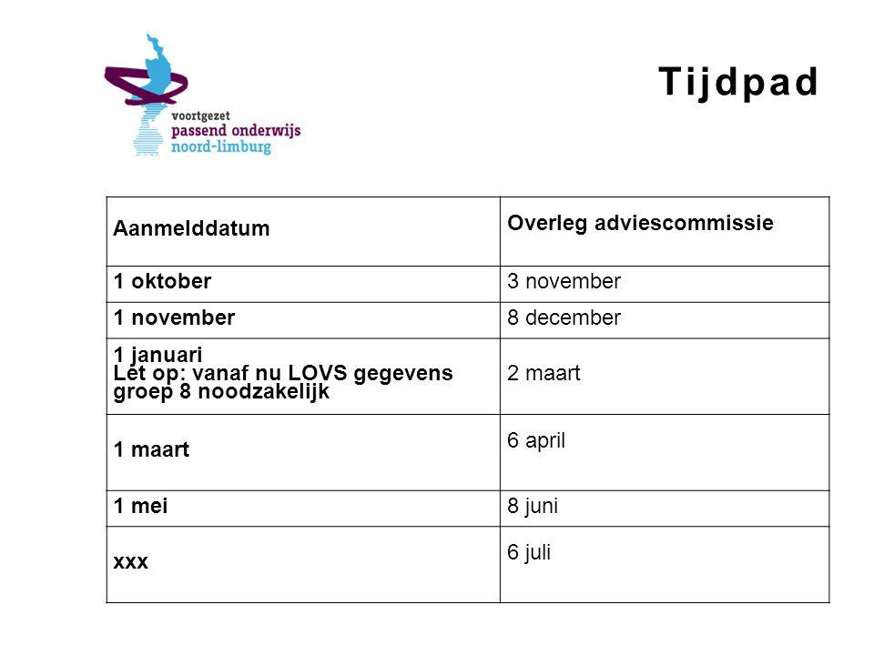 Tijdpad Aanmelddatum Overleg adviescommissie 1 oktober3 november 1 november8 december 1 januari Let op: vanaf nu LOVS gegevens groep 8 noodzakelijk 2 maart 1 maart 6 april 1 mei8 juni xxx 6 juli