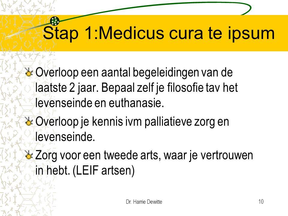 Dr. Harrie Dewitte10 Stap 1:Medicus cura te ipsum Overloop een aantal begeleidingen van de laatste 2 jaar. Bepaal zelf je filosofie tav het levenseind