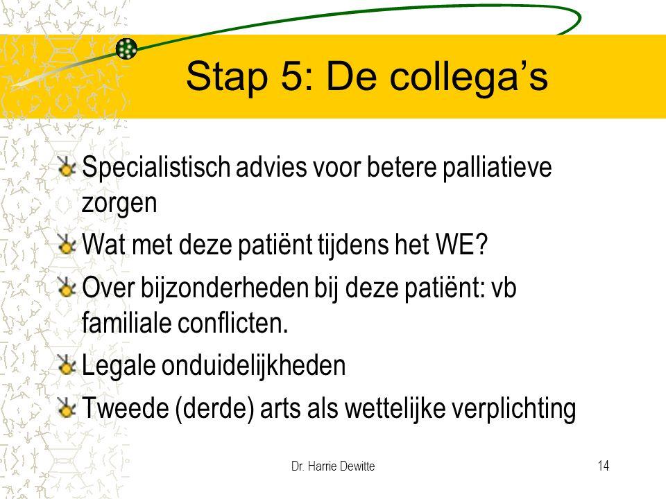 Dr. Harrie Dewitte14 Stap 5: De collega's Specialistisch advies voor betere palliatieve zorgen Wat met deze patiënt tijdens het WE? Over bijzonderhede