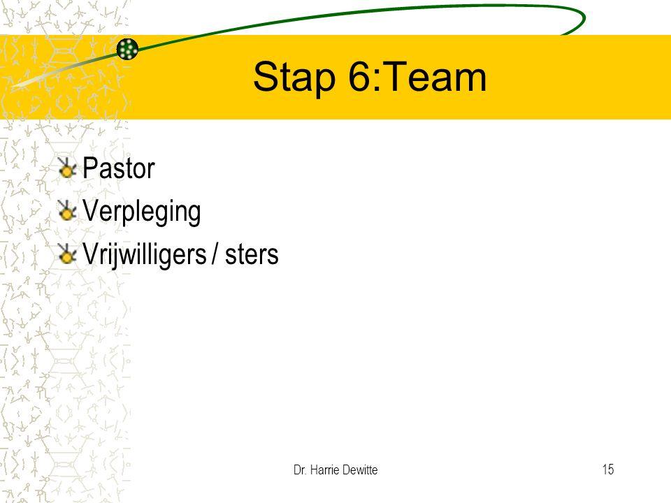 Dr. Harrie Dewitte15 Stap 6:Team Pastor Verpleging Vrijwilligers / sters