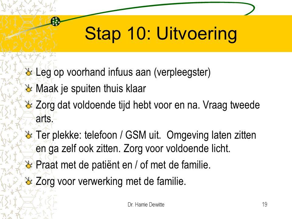 Dr. Harrie Dewitte19 Stap 10: Uitvoering Leg op voorhand infuus aan (verpleegster) Maak je spuiten thuis klaar Zorg dat voldoende tijd hebt voor en na