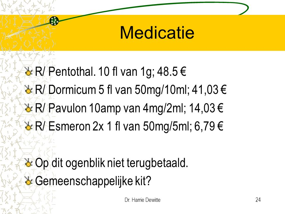 Dr.Harrie Dewitte24 Medicatie R/ Pentothal.