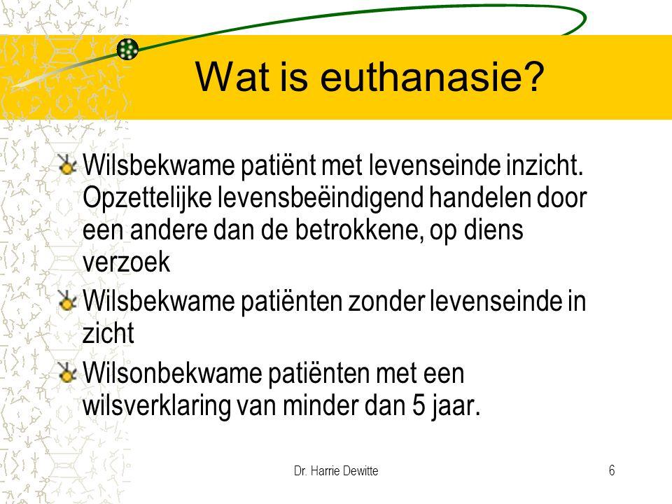 Dr. Harrie Dewitte6 Wat is euthanasie? Wilsbekwame patiënt met levenseinde inzicht. Opzettelijke levensbeëindigend handelen door een andere dan de bet