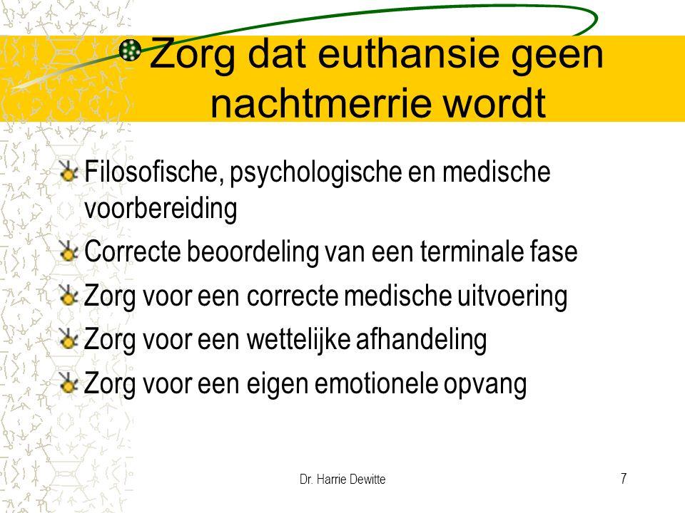 Dr. Harrie Dewitte7 Zorg dat euthansie geen nachtmerrie wordt Filosofische, psychologische en medische voorbereiding Correcte beoordeling van een term