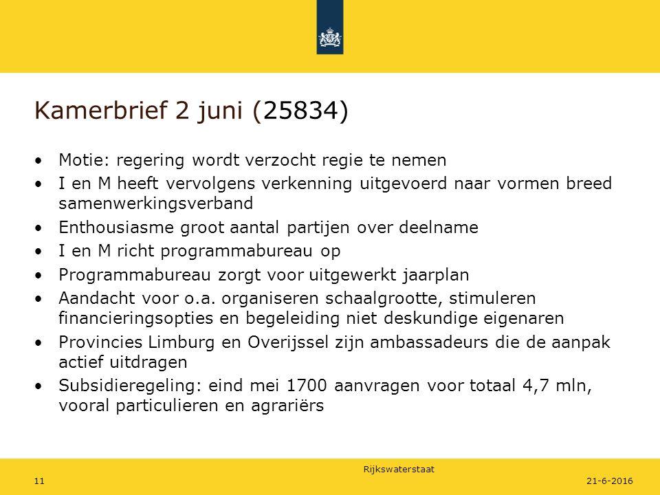 Rijkswaterstaat Motie: regering wordt verzocht regie te nemen I en M heeft vervolgens verkenning uitgevoerd naar vormen breed samenwerkingsverband Ent