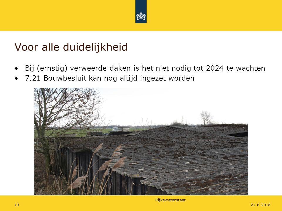 Rijkswaterstaat Voor alle duidelijkheid Bij (ernstig) verweerde daken is het niet nodig tot 2024 te wachten 7.21 Bouwbesluit kan nog altijd ingezet worden 21-6-201613