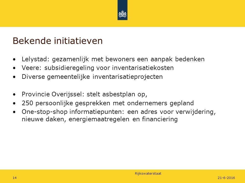 Rijkswaterstaat Bekende initiatieven Lelystad: gezamenlijk met bewoners een aanpak bedenken Veere: subsidieregeling voor inventarisatiekosten Diverse