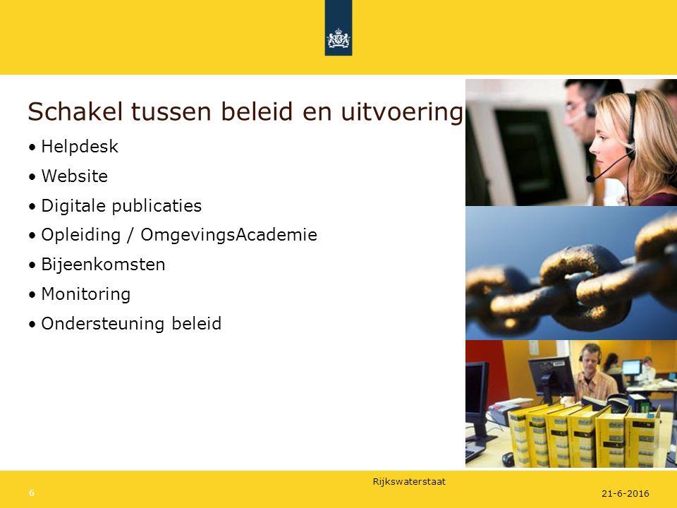 Rijkswaterstaat 21-6-2016 6 Schakel tussen beleid en uitvoering Helpdesk Website Digitale publicaties Opleiding / OmgevingsAcademie Bijeenkomsten Monitoring Ondersteuning beleid