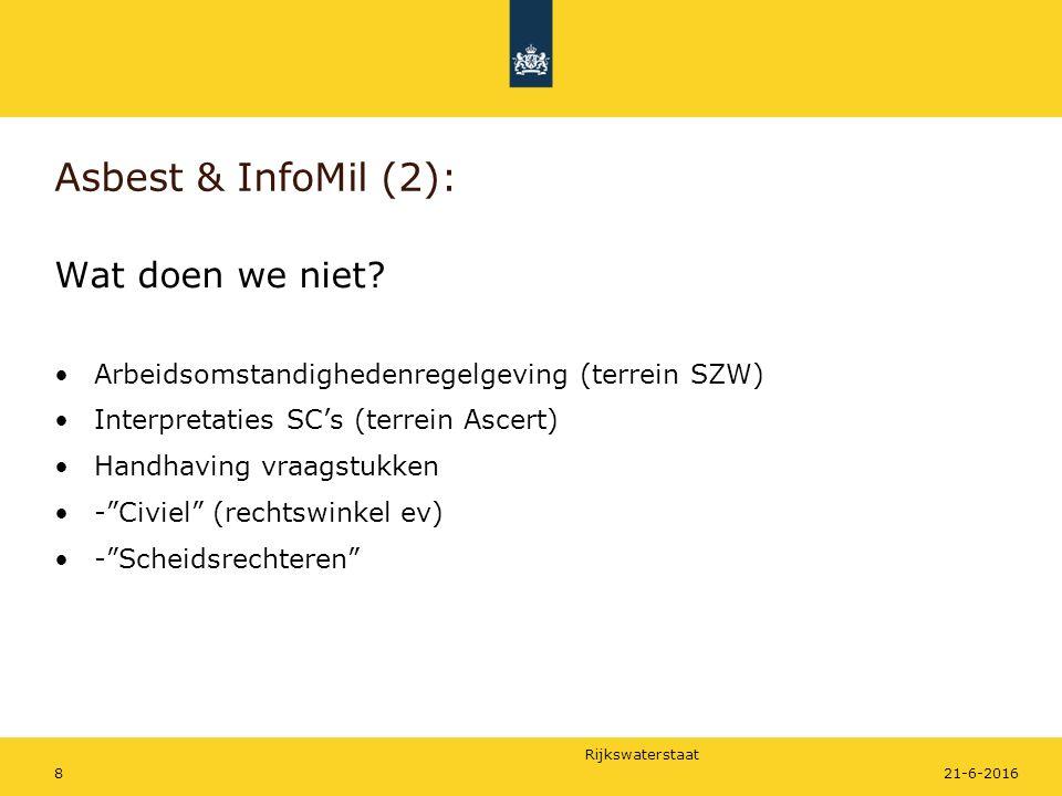 Rijkswaterstaat Asbest & InfoMil (2): Wat doen we niet? Arbeidsomstandighedenregelgeving (terrein SZW) Interpretaties SC's (terrein Ascert) Handhaving