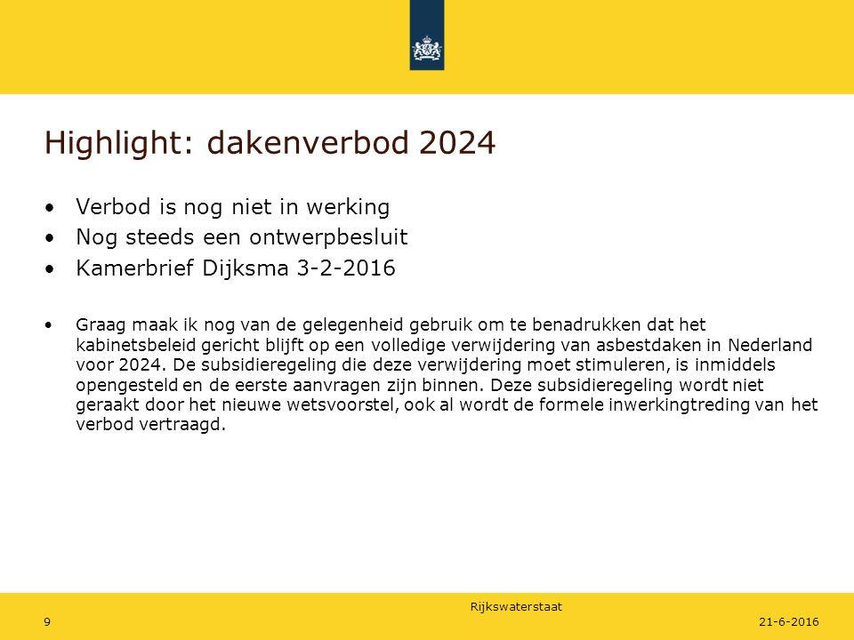 Rijkswaterstaat Verbod is nog niet in werking Nog steeds een ontwerpbesluit Kamerbrief Dijksma 3-2-2016 Graag maak ik nog van de gelegenheid gebruik om te benadrukken dat het kabinetsbeleid gericht blijft op een volledige verwijdering van asbestdaken in Nederland voor 2024.