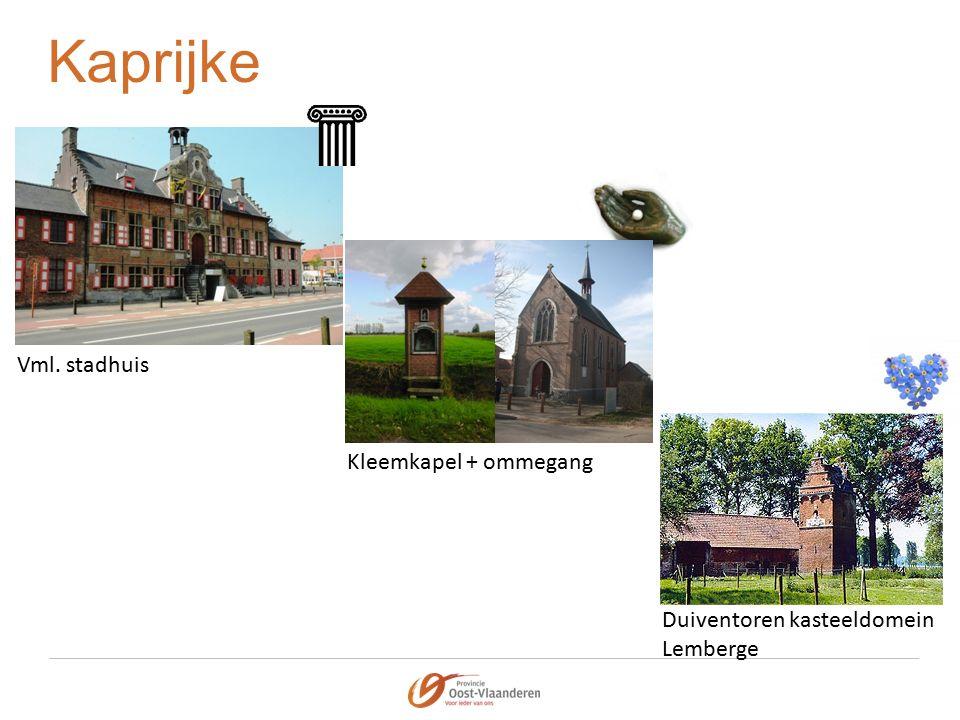Kaprijke Vml. stadhuis Kleemkapel + ommegang Duiventoren kasteeldomein Lemberge