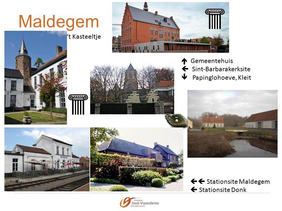 Maldegem  Gemeentehuis  Sint-Barbarakerksite  Papinglohoeve, Kleit  Stationsite Maldegem  Stationsite Donk 't Kasteeltje