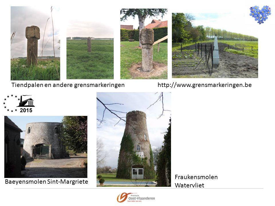 Tiendpalen en andere grensmarkeringenhttp://www.grensmarkeringen.be Baeyensmolen Sint-Margriete Fraukensmolen Watervliet