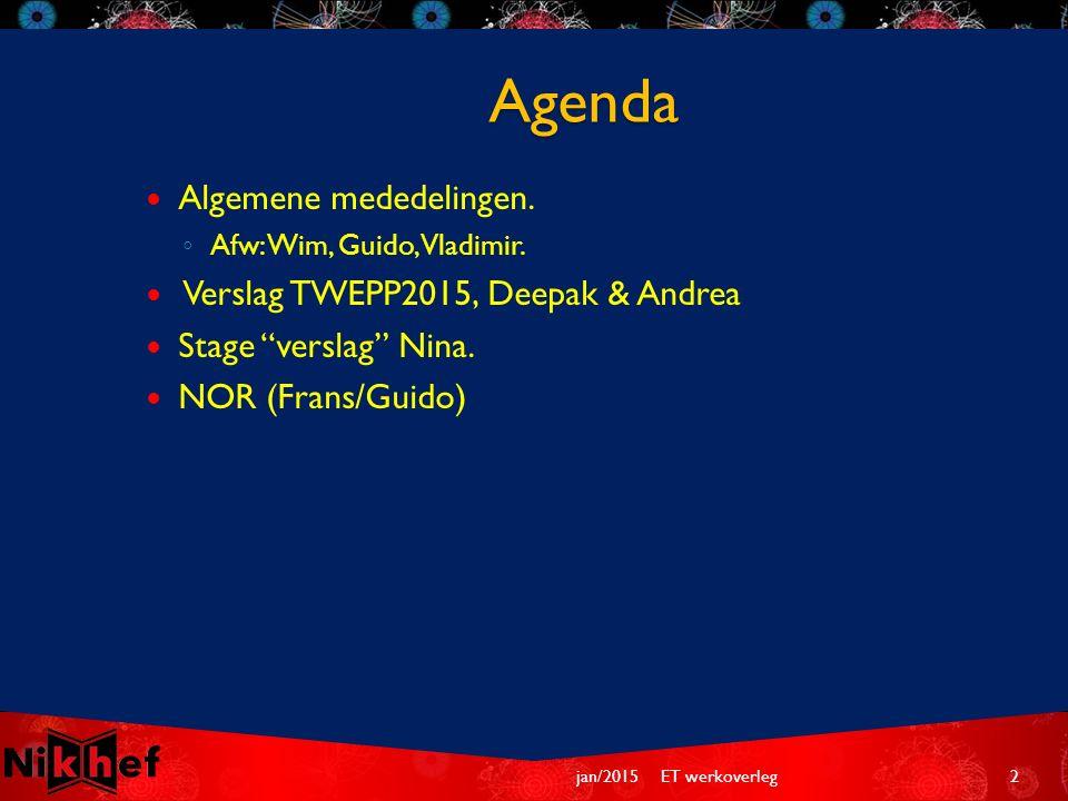 Agenda Algemene mededelingen. ◦ Afw: Wim, Guido, Vladimir.