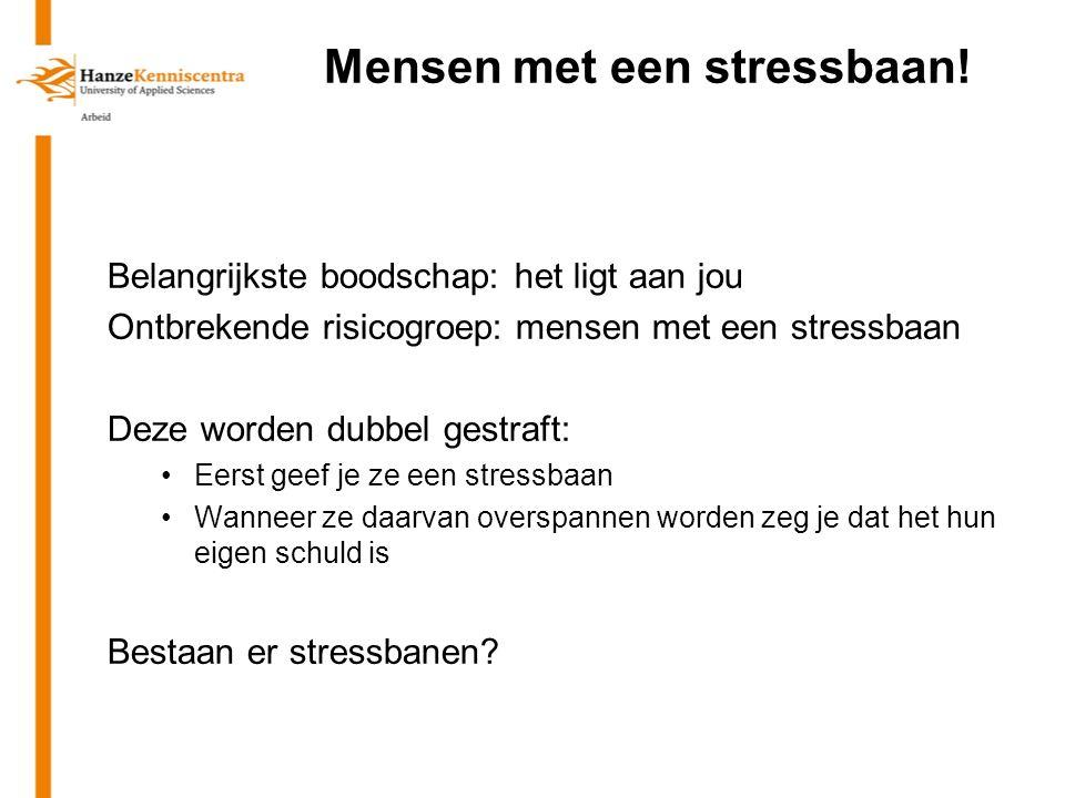 Mensen met een stressbaan! Belangrijkste boodschap: het ligt aan jou Ontbrekende risicogroep: mensen met een stressbaan Deze worden dubbel gestraft: E