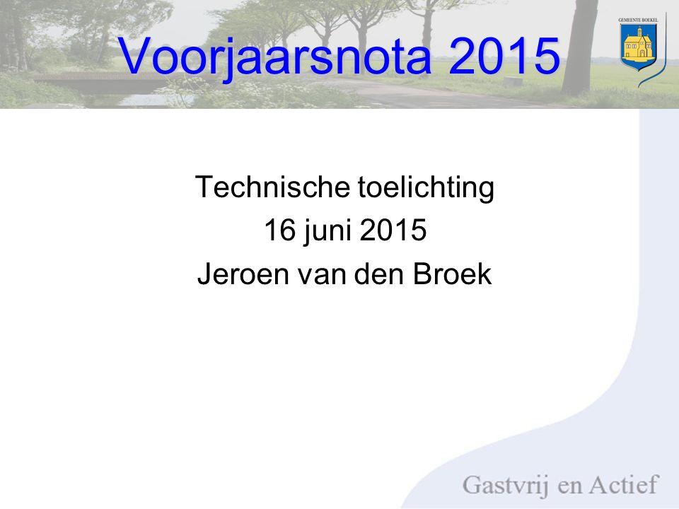 Voorjaarsnota 2015 Technische toelichting 16 juni 2015 Jeroen van den Broek