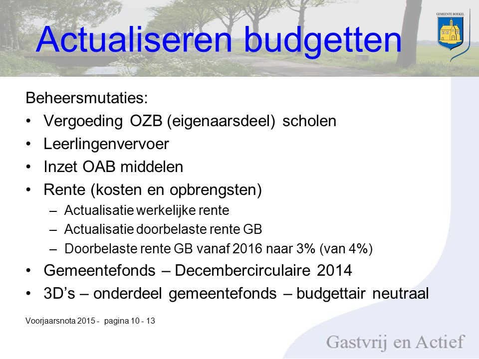 Beheersmutaties: Vergoeding OZB (eigenaarsdeel) scholen Leerlingenvervoer Inzet OAB middelen Rente (kosten en opbrengsten) –Actualisatie werkelijke rente –Actualisatie doorbelaste rente GB –Doorbelaste rente GB vanaf 2016 naar 3% (van 4%) Gemeentefonds – Decembercirculaire 2014 3D's – onderdeel gemeentefonds – budgettair neutraal Voorjaarsnota 2015 - pagina 10 - 13 Actualiseren budgetten
