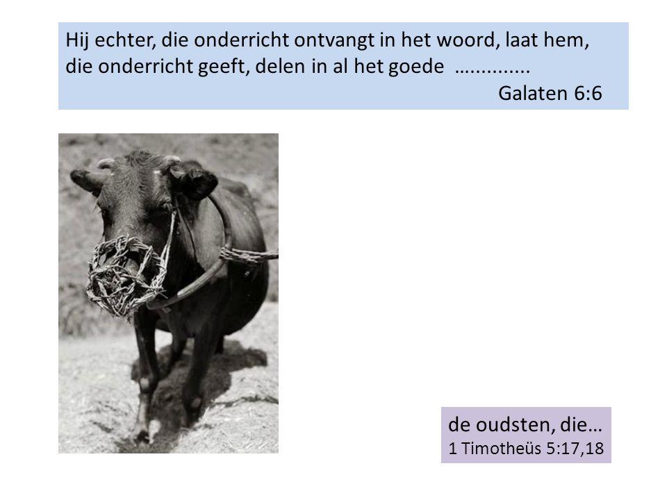 Hij echter, die onderricht ontvangt in het woord, laat hem, die onderricht geeft, delen in al het goede …...........
