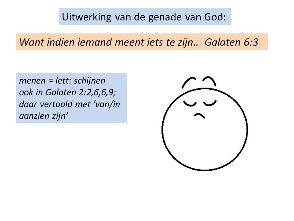 Uitwerking van de genade van God: Want indien iemand meent iets te zijn..
