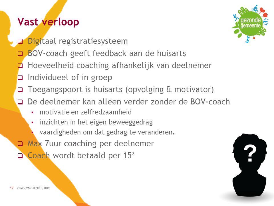 VIGeZ vzw, ©2016, BOV12 Vast verloop  Digitaal registratiesysteem  BOV-coach geeft feedback aan de huisarts  Hoeveelheid coaching afhankelijk van deelnemer  Individueel of in groep  Toegangspoort is huisarts (opvolging & motivator)  De deelnemer kan alleen verder zonder de BOV-coach  motivatie en zelfredzaamheid  inzichten in het eigen beweeggedrag  vaardigheden om dat gedrag te veranderen.