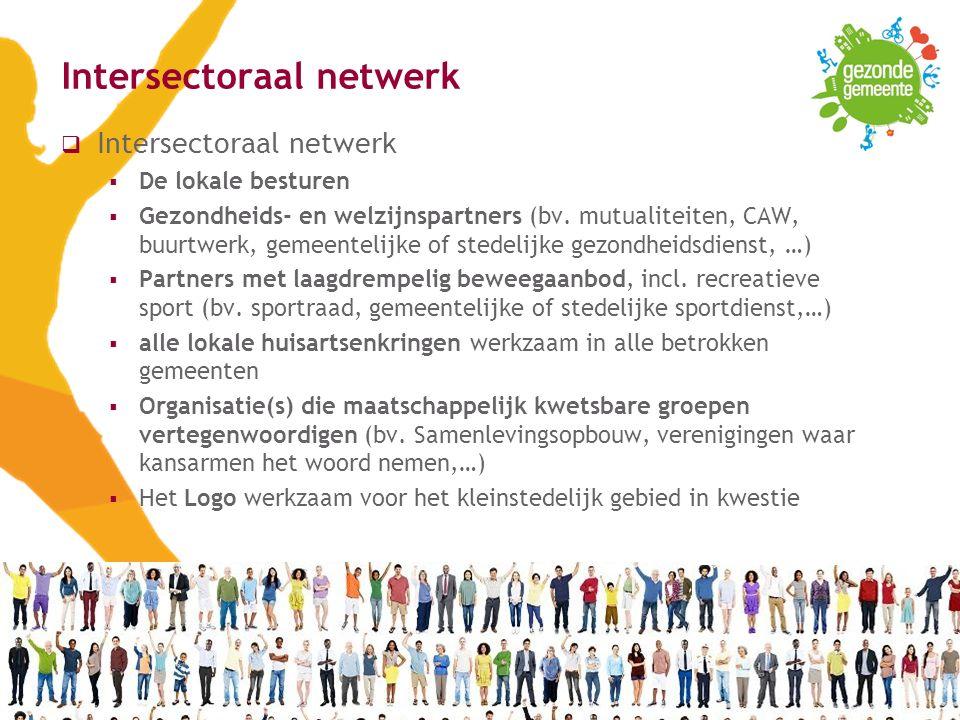 VIGeZ vzw, ©2016, BOV17 Intersectoraal netwerk  Intersectoraal netwerk  De lokale besturen  Gezondheids- en welzijnspartners (bv.