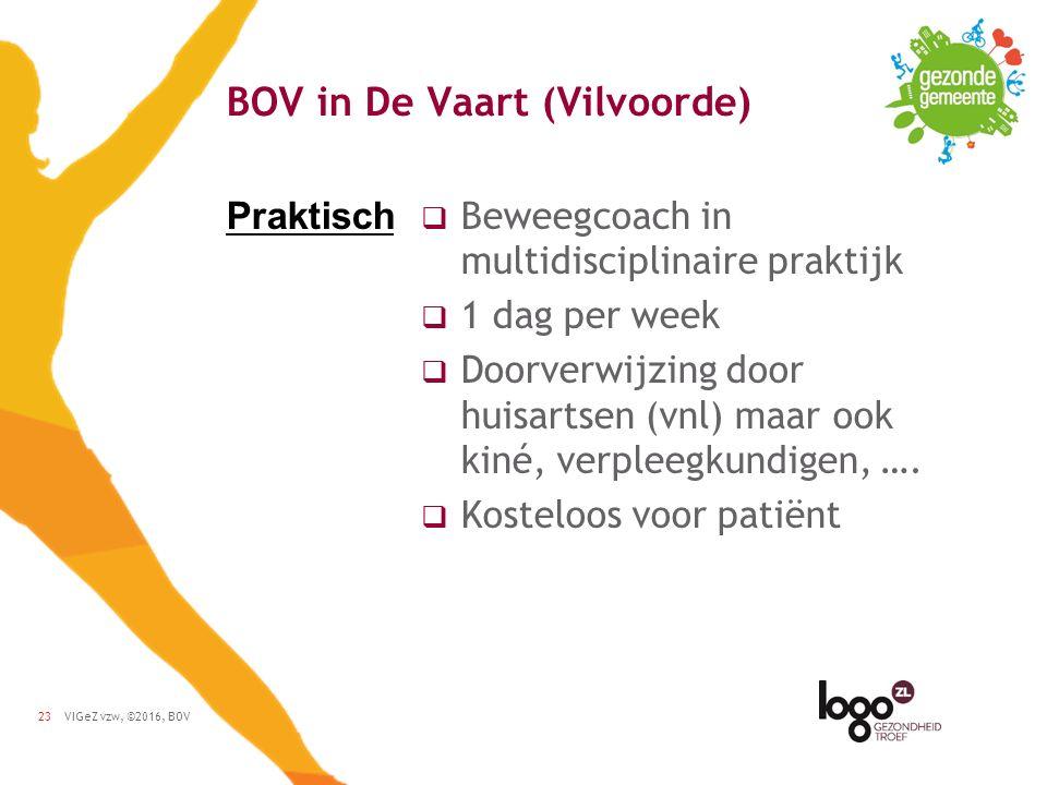 VIGeZ vzw, ©2016, BOV23 BOV in De Vaart (Vilvoorde)  Beweegcoach in multidisciplinaire praktijk  1 dag per week  Doorverwijzing door huisartsen (vnl) maar ook kiné, verpleegkundigen, ….
