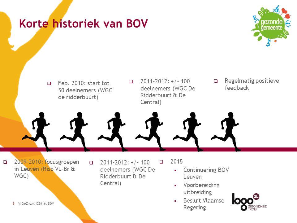 VIGeZ vzw, ©2016, BOV5 Korte historiek van BOV  2009-2010: focusgroepen in Leuven (Riso VL-Br & WGC)  Feb.