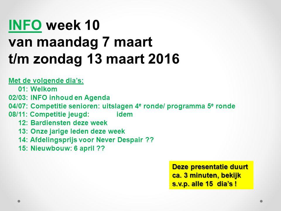 INFO week 10 van maandag 7 maart t/m zondag 13 maart 2016 Met de volgende dia's: 01: Welkom 02/03: INFO inhoud en Agenda 04/07: Competitie senioren: u