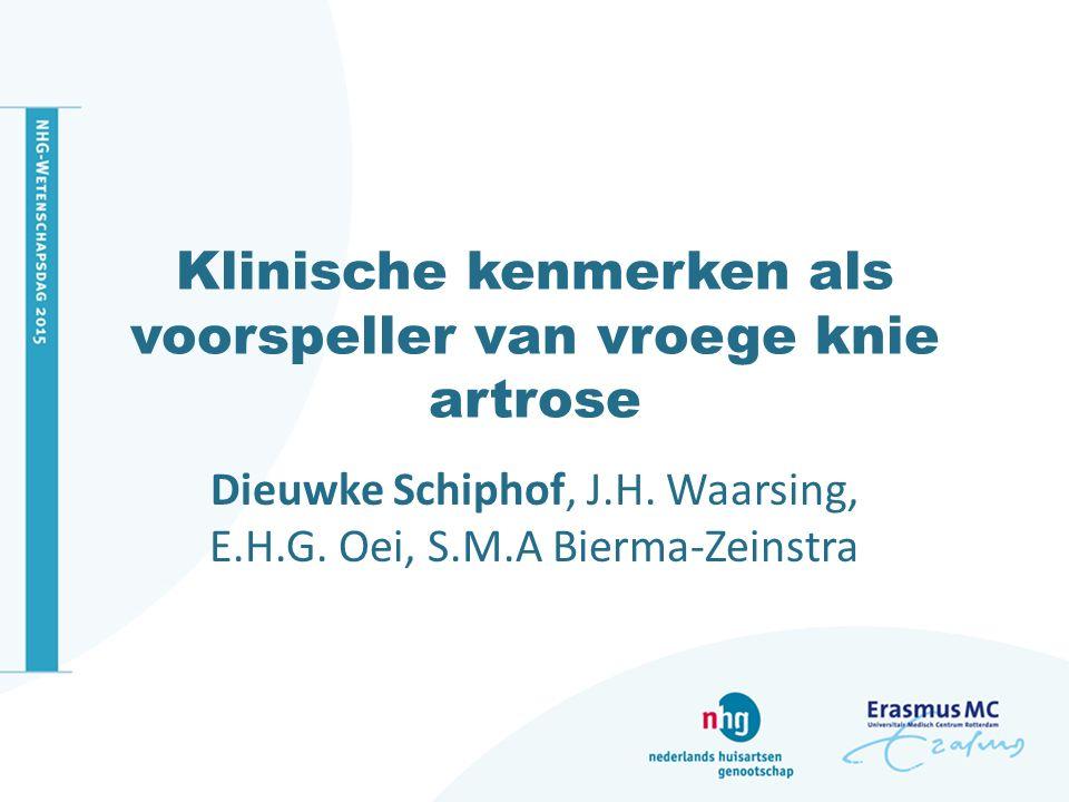 Structurele artrose Röntgenfoto: Kellgren en Lawrence MRI definitie voor artrose MRI definitie detecteert meer cases van structurele artrose en associeert vergelijkbaar met pijn en BMI