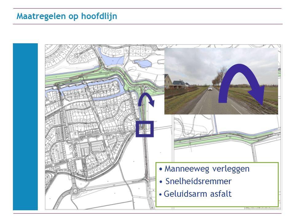 Maatregelen op hoofdlijn Manneeweg verleggen Snelheidsremmer Geluidsarm asfalt