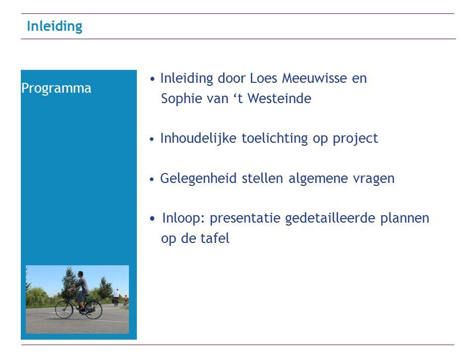 Inleiding door Loes Meeuwisse en Sophie van 't Westeinde Inhoudelijke toelichting op project Gelegenheid stellen algemene vragen Inloop: presentatie gedetailleerde plannen op de tafel Inleiding Programma