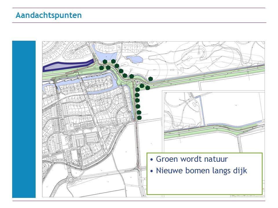 Aandachtspunten Golfballen Groen wordt natuur Nieuwe bomen langs dijk