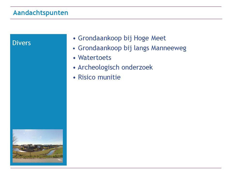 Grondaankoop bij Hoge Meet Grondaankoop bij langs Manneeweg Watertoets Archeologisch onderzoek Risico munitie Aandachtspunten Divers