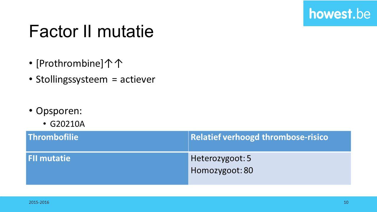 Factor II mutatie [Prothrombine]↑↑ Stollingssysteem = actiever Opsporen: G20210A 2015-201610 ThrombofilieRelatief verhoogd thrombose-risico FII mutati