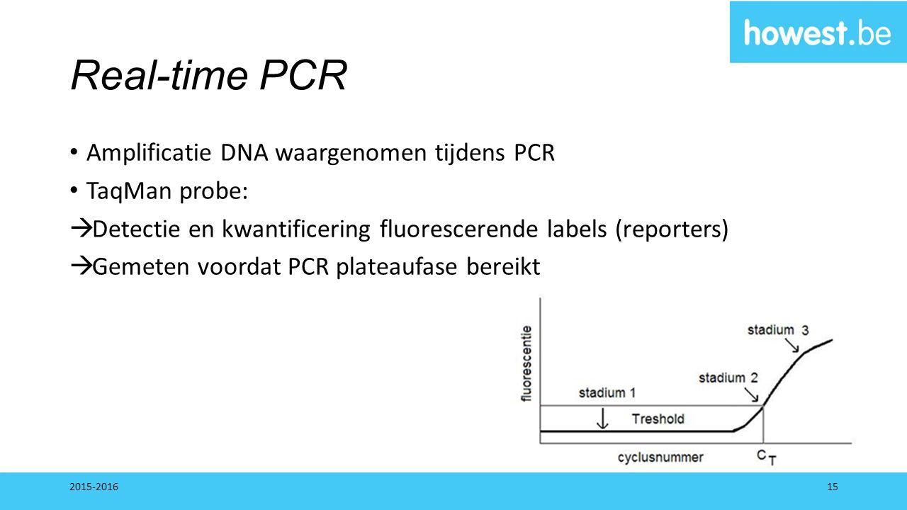 Real-time PCR Amplificatie DNA waargenomen tijdens PCR TaqMan probe:  Detectie en kwantificering fluorescerende labels (reporters)  Gemeten voordat