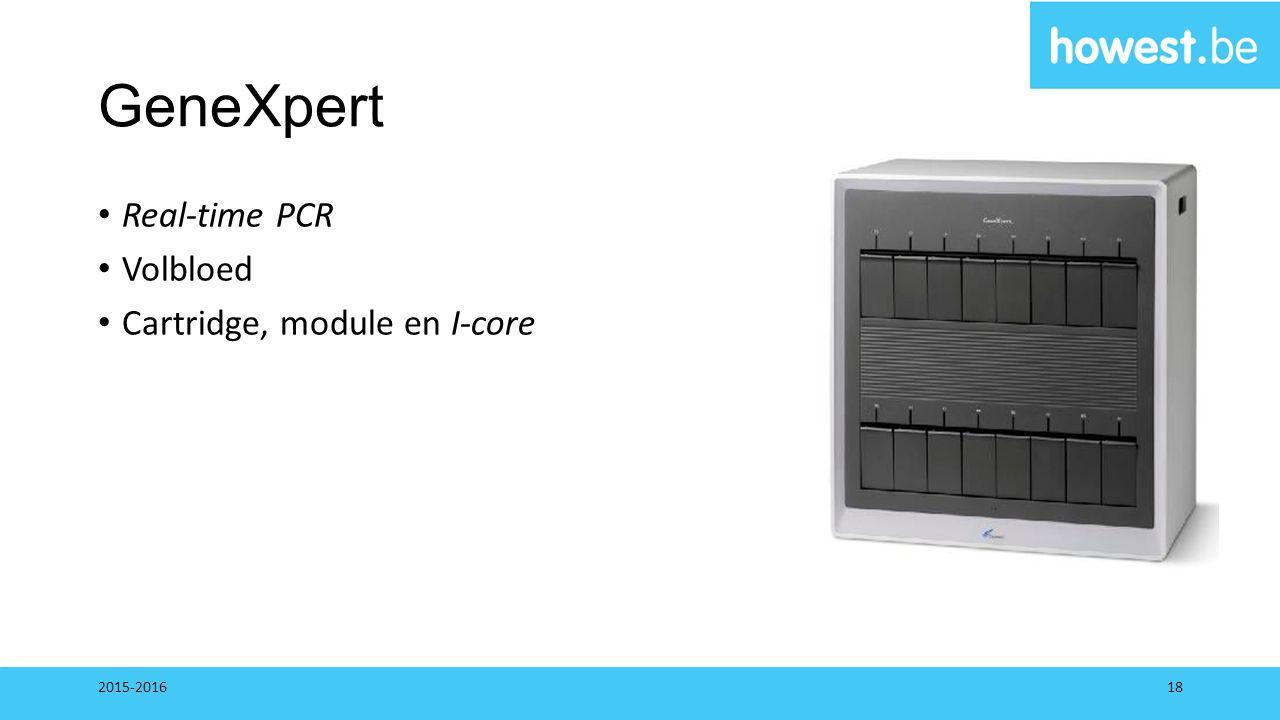 GeneXpert Real-time PCR Volbloed Cartridge, module en I-core 2015-201618