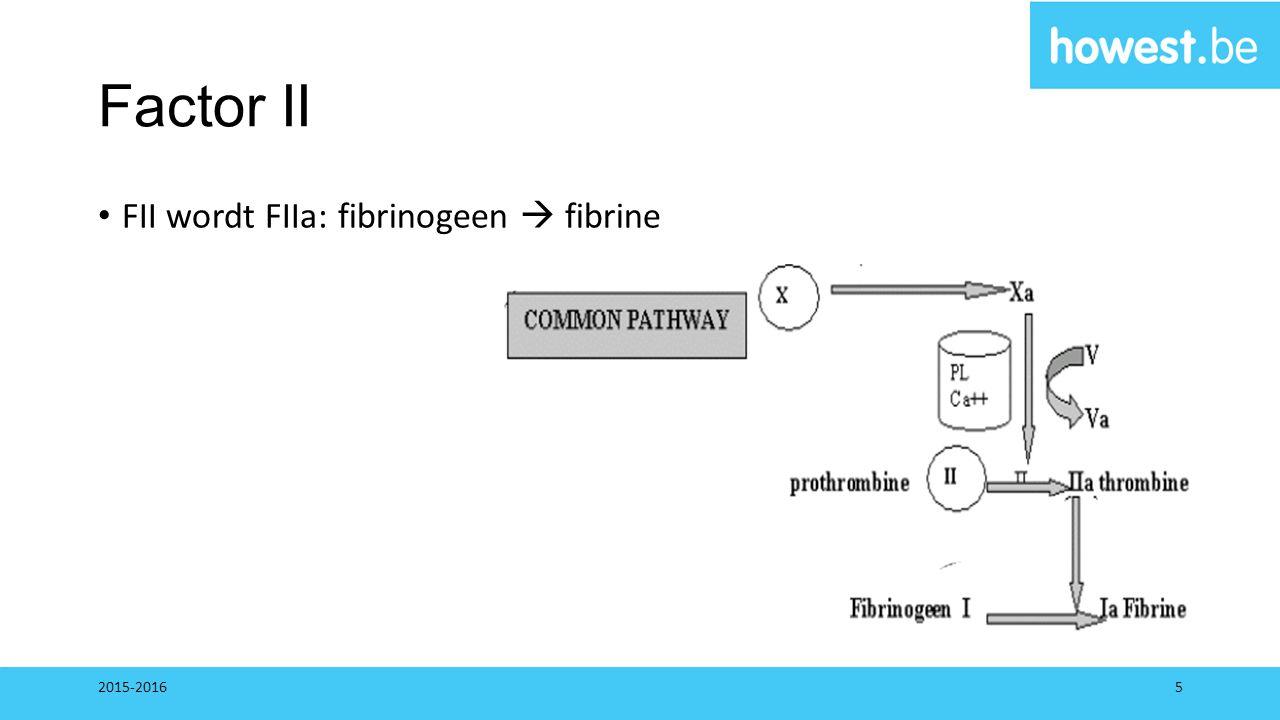Factor II FII wordt FIIa: fibrinogeen  fibrine 2015-20165