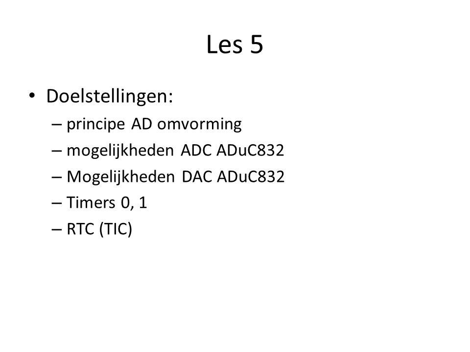 Les 5 Doelstellingen: – principe AD omvorming – mogelijkheden ADC ADuC832 – Mogelijkheden DAC ADuC832 – Timers 0, 1 – RTC (TIC)