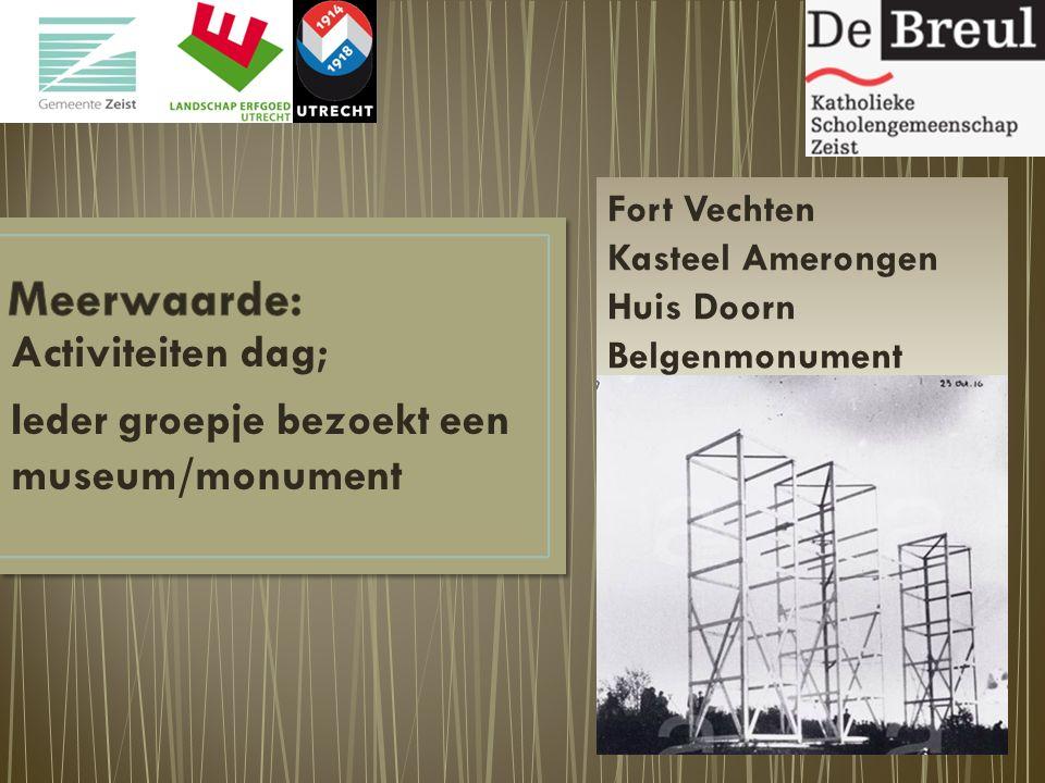 Activiteiten dag; Ieder groepje bezoekt een museum/monument Fort Vechten Kasteel Amerongen Huis Doorn Belgenmonument