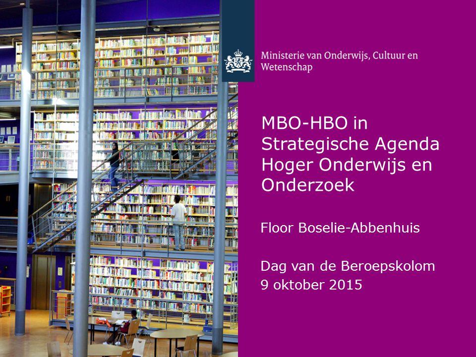 MBO-HBO in Strategische Agenda Hoger Onderwijs en Onderzoek Floor Boselie-Abbenhuis Dag van de Beroepskolom 9 oktober 2015