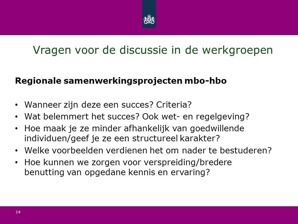14 Vragen voor de discussie in de werkgroepen Regionale samenwerkingsprojecten mbo-hbo Wanneer zijn deze een succes.