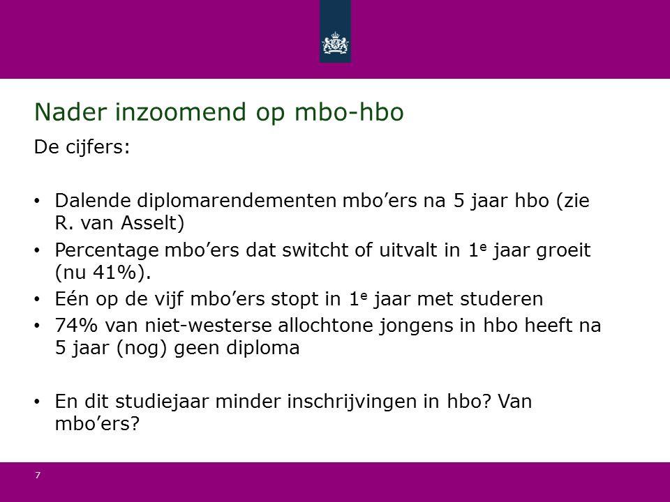 7 Nader inzoomend op mbo-hbo De cijfers: Dalende diplomarendementen mbo'ers na 5 jaar hbo (zie R.