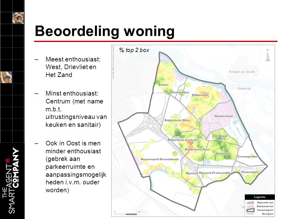 Beoordeling woning –Meest enthousiast: West, Drievliet en Het Zand –Minst enthousiast: Centrum (met name m.b.t.