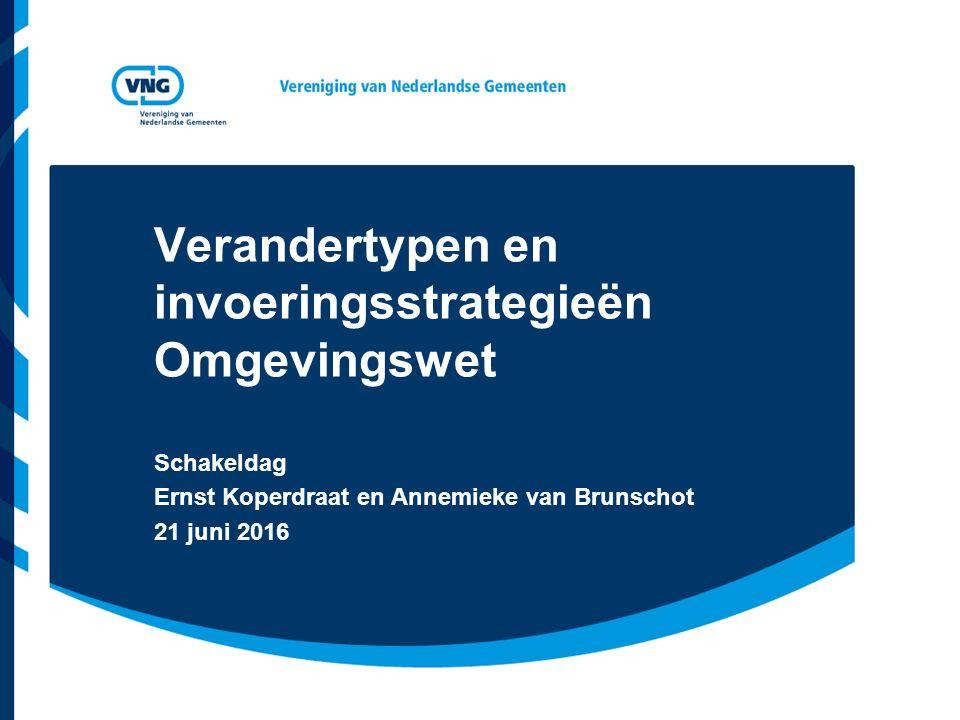 Verandertypen en invoeringsstrategieën Omgevingswet Schakeldag Ernst Koperdraat en Annemieke van Brunschot 21 juni 2016