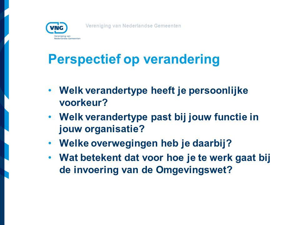 Vereniging van Nederlandse Gemeenten Perspectief op verandering Welk verandertype heeft je persoonlijke voorkeur.